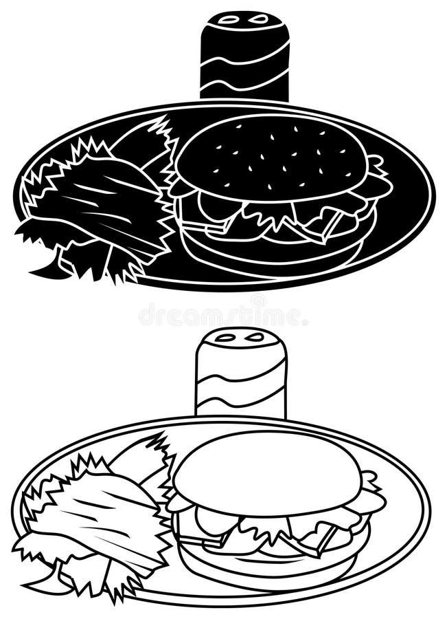 Les hamburgers, puces, peuvent illustration stock
