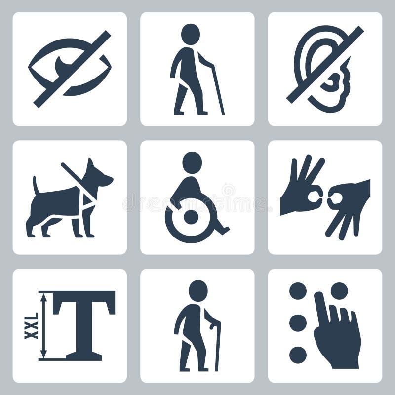 Les handicapés releated dirigent des icônes illustration libre de droits