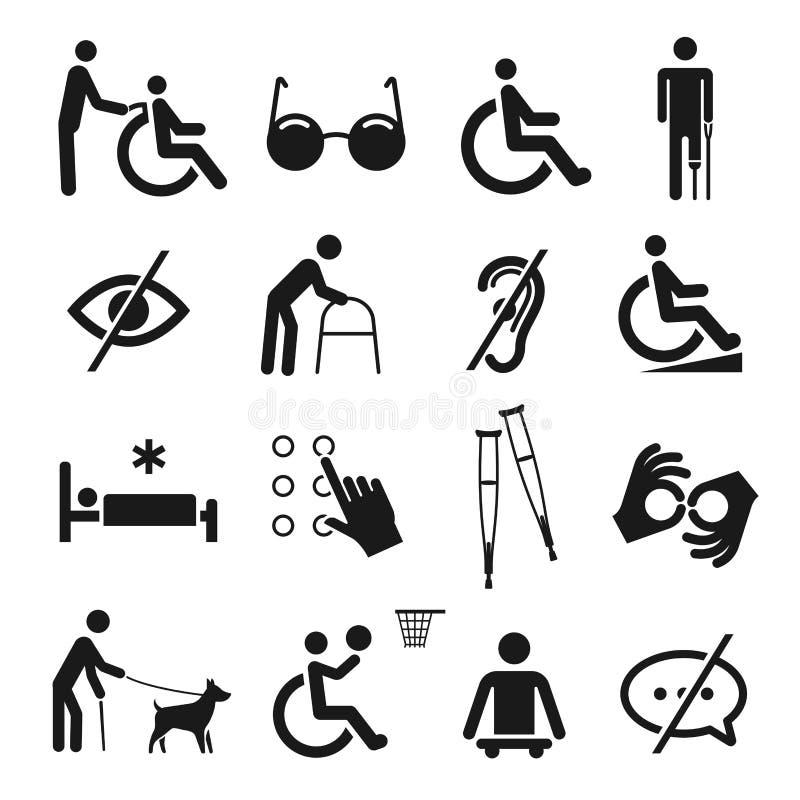 Les handicapés s'inquiètent et l'ensemble d'icône d'incapacité illustration stock