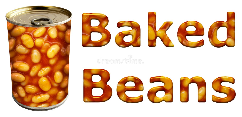 Les haricots cuits au four mettent en boîte et des mots illustration de vecteur