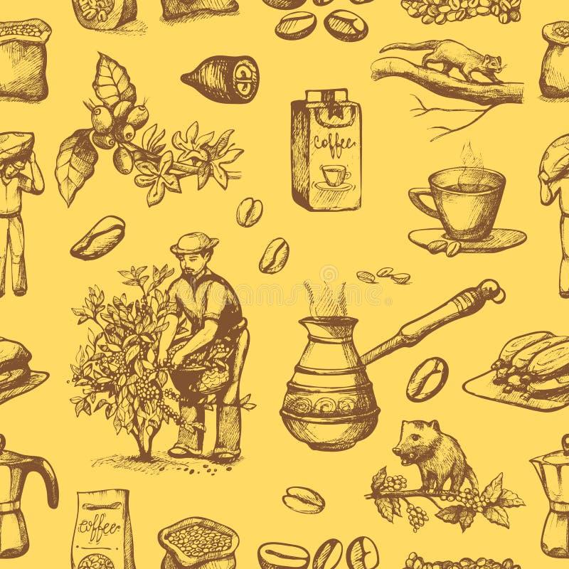 Les haricots de coffeine de cueillette d'agriculteur de plantation de vecteur de production de café sur le dessin d'arbre et de v illustration libre de droits
