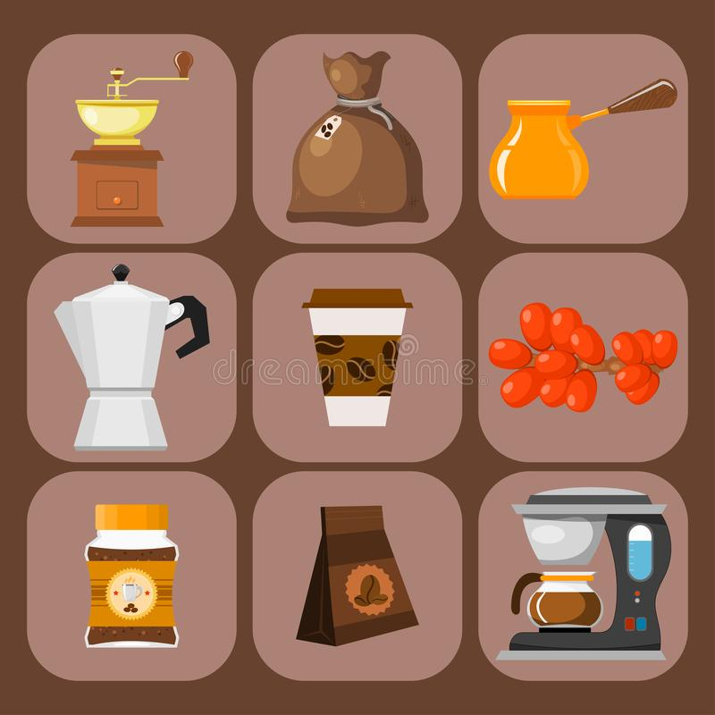 Les haricots de plantation de café boivent l'illustration de vecteur de cafetière de plantation d'agriculteur de cacao de café-ha illustration libre de droits