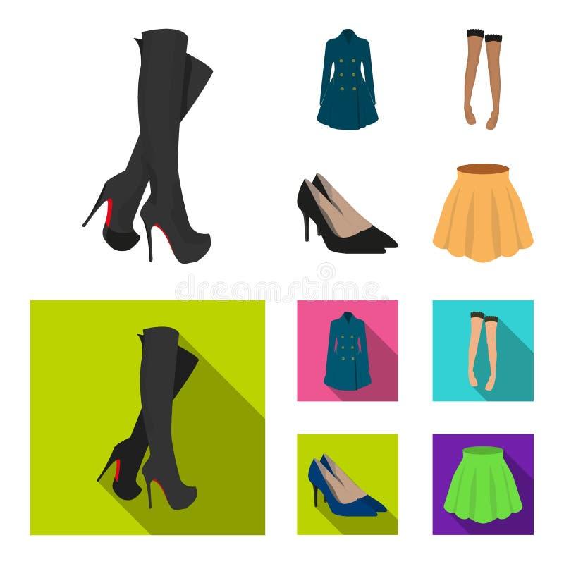 Les hautes bottes de femmes, manteaux sur les boutons, bas avec une bande élastique avec un modèle, haute ont gîté des chaussures illustration stock