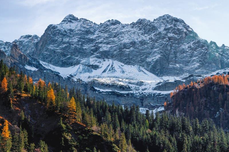 Les hautes montagnes couvertes de neige en automne en retard assaisonnent Alpes, Autriche, Tyrol images libres de droits