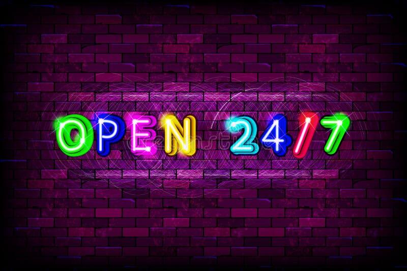 Les 24 7 heures ouvertes se connectent le fond de mur de briques illustration stock