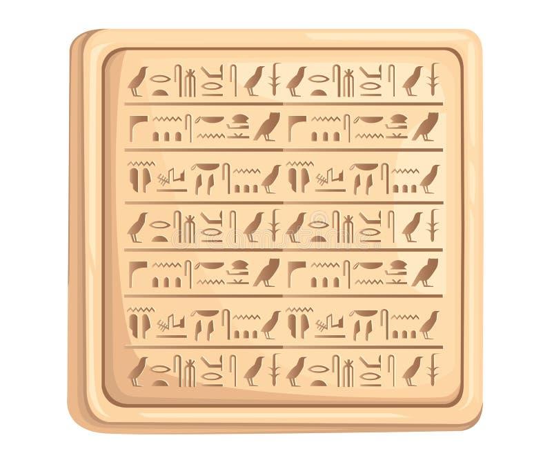 Les hiéroglyphes égyptiens sur le manuscrit antique de plat en pierre dirigent l'illustration à la page blanche de site Web de fo illustration libre de droits