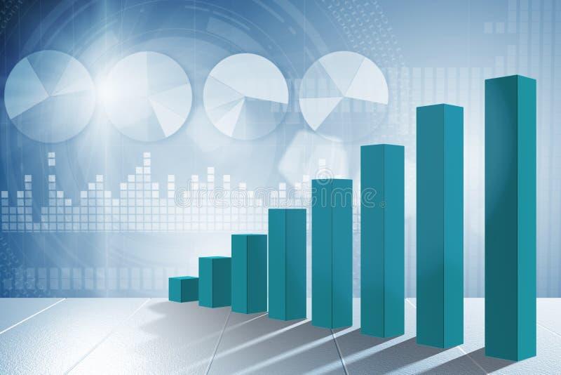Les histogrammes croissants dans le concept de reprise économique - rendu 3d illustration de vecteur