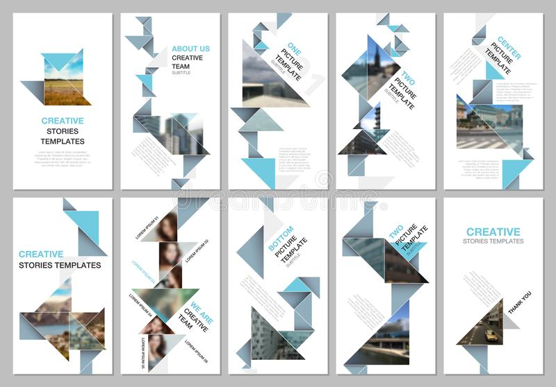 Les histoires sociales créatives de réseaux conçoivent, bannière ou calibres verticaux d'insecte avec le papier coloré d'origami  illustration stock