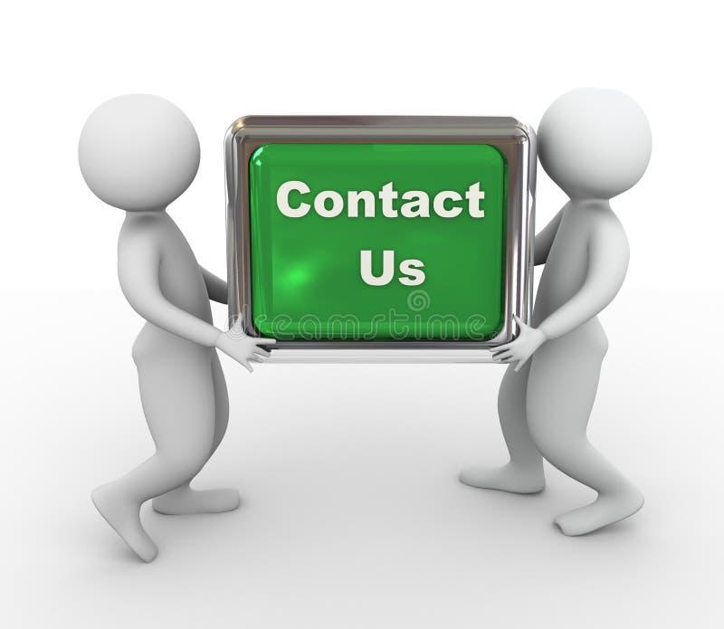 les hommes 3d portant «nous contactent» bouton illustration libre de droits