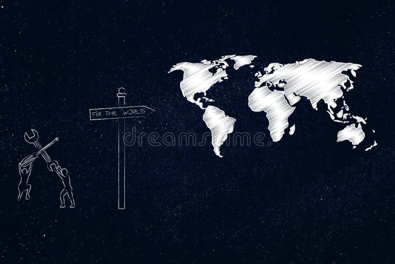 Les hommes avec des outils de DIY à côté de panneau routier avec le texte fixent le monde et illustration libre de droits