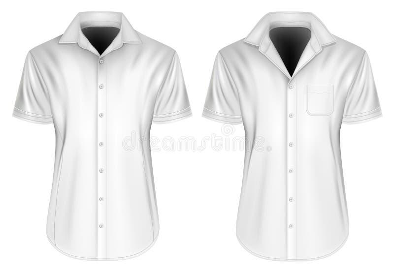 Les hommes court-circuitent les chemises gainées avec les colliers ouverts illustration stock