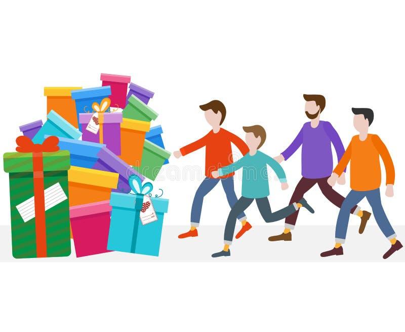 Les hommes d'achats se précipitent à la vente Offre spéciale illustration de vecteur