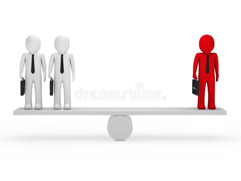 Les hommes d'affaires équilibrent sur la balançoir illustration libre de droits