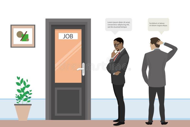 Les hommes d'affaires de bande dessinée ou les employés de bureau recherchent le travail, illustration de vecteur