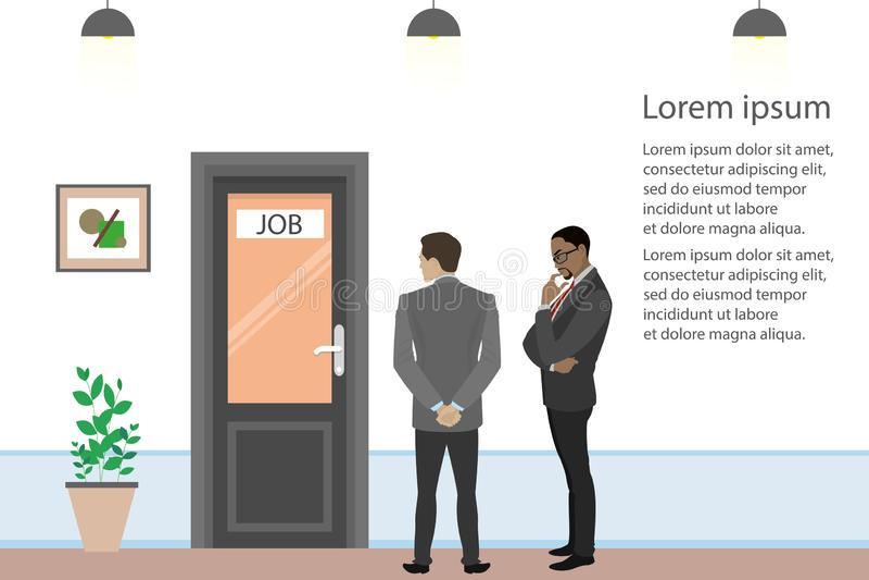 Les hommes d'affaires de bande dessinée ou les employés de bureau recherchent le travail, illustration stock