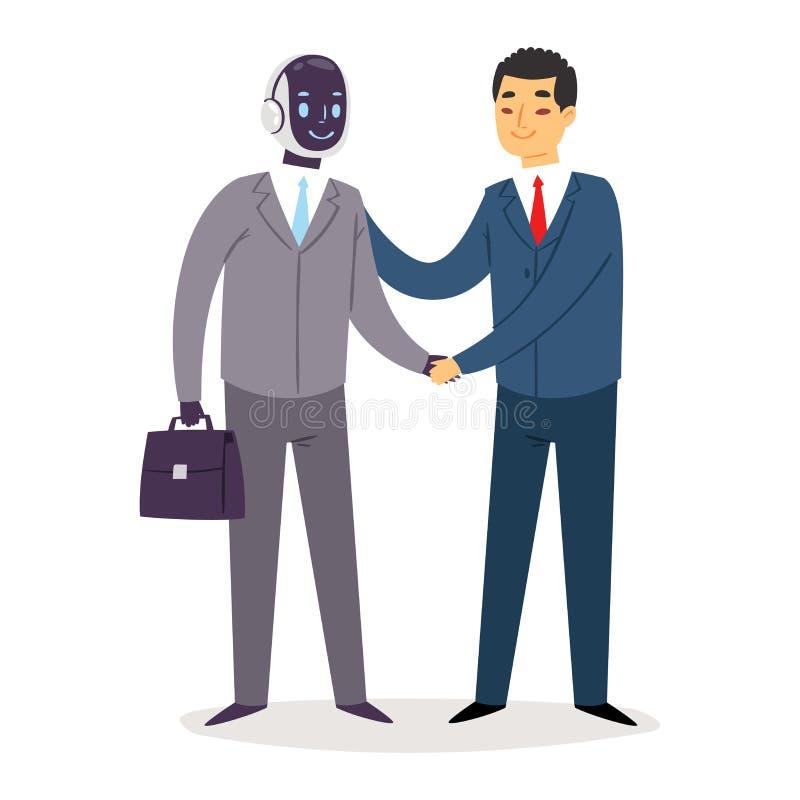Les hommes d'affaires de humanoïde de robot dirigent la technologie cybernétique de la vie de cyber de personnages de dessin anim illustration de vecteur