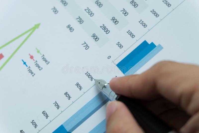 Les hommes d'affaires dirigent des nombres, représentent graphiquement, causent dans le résultat d'affaires photographie stock libre de droits
