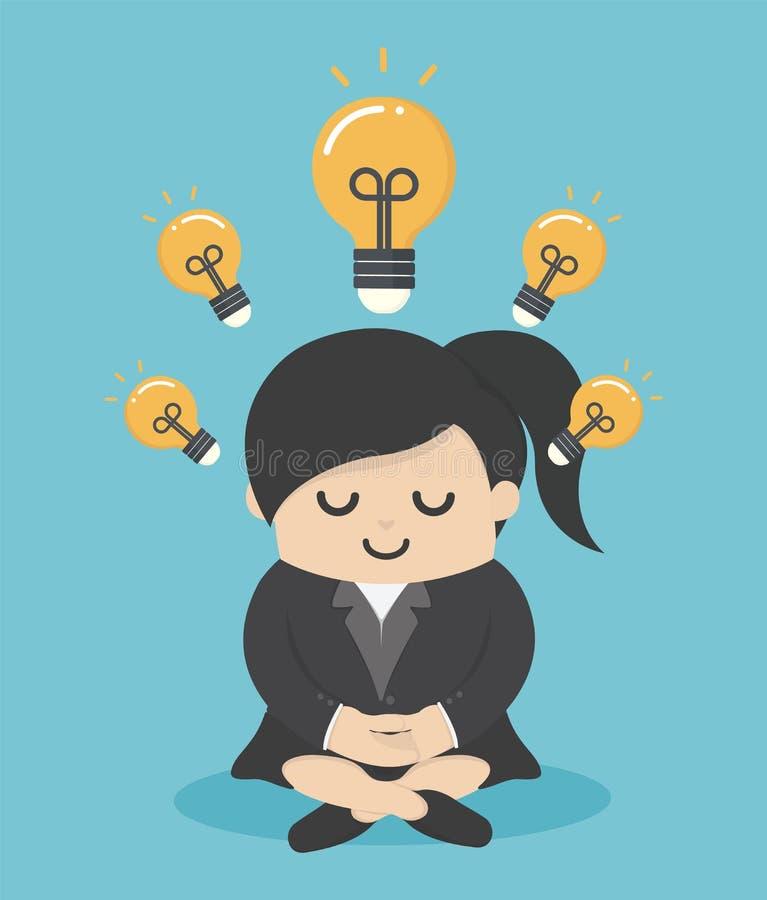 Les hommes d'affaires féminins qui méditent avec la prospérité, sagesse le rendent plus intelligent que d'autres illustration stock