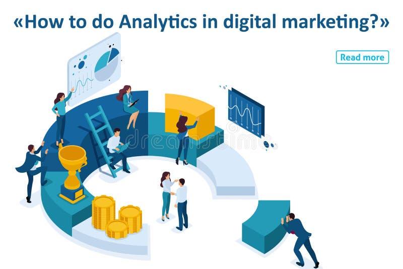 Les hommes d'affaires isométriques font un marketing de Digital illustration stock