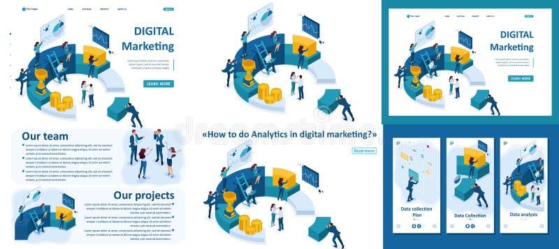 Les hommes d'affaires isométriques font un marketing de Digital illustration libre de droits