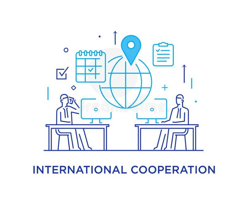 Les hommes d'affaires négocient en ligne Affaire internationale Smartphone virtuel de communication Interaction de coopération Ré illustration libre de droits