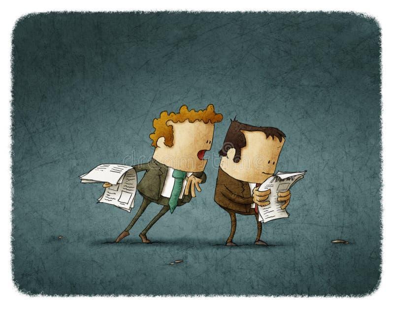 Les hommes d'affaires ont lu le journal illustration libre de droits