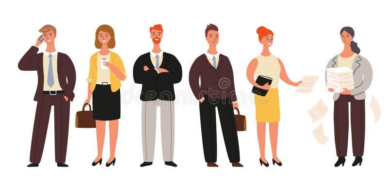Les hommes d'affaires ont placé, tenant les hommes d'affaires et la collection de femmes d'affaires d'isolement sur le fond blanc illustration stock