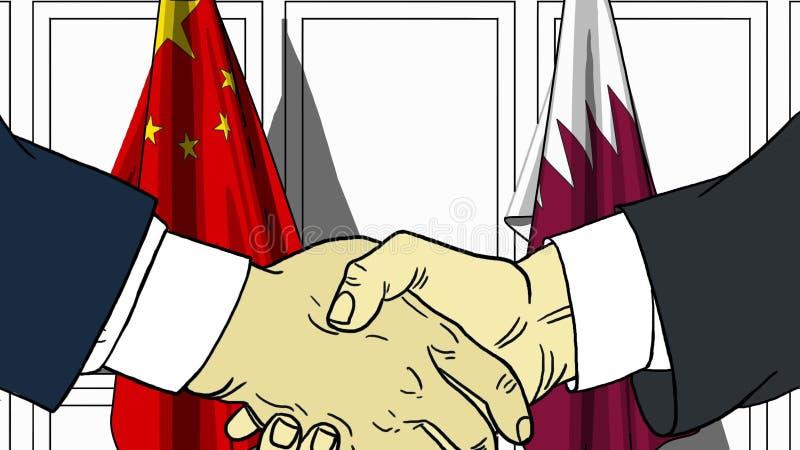 Les hommes d'affaires ou les politiciens se serrent la main contre des drapeaux de la Chine et du Qatar Réunion officielle ou ban illustration de vecteur