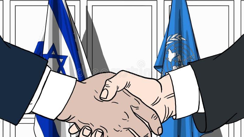 Les hommes d'affaires ou les politiciens se serrent la main contre des drapeaux de l'Israël et des Nations Unies Réunion ou coopé illustration stock
