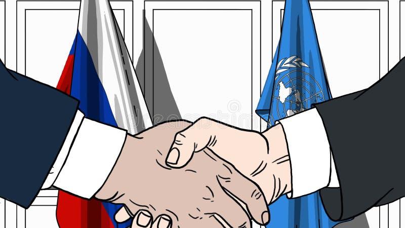 Les hommes d'affaires ou les politiciens se serrent la main contre des drapeaux de la Russie et des Nations Unies Réunion ou coop illustration stock