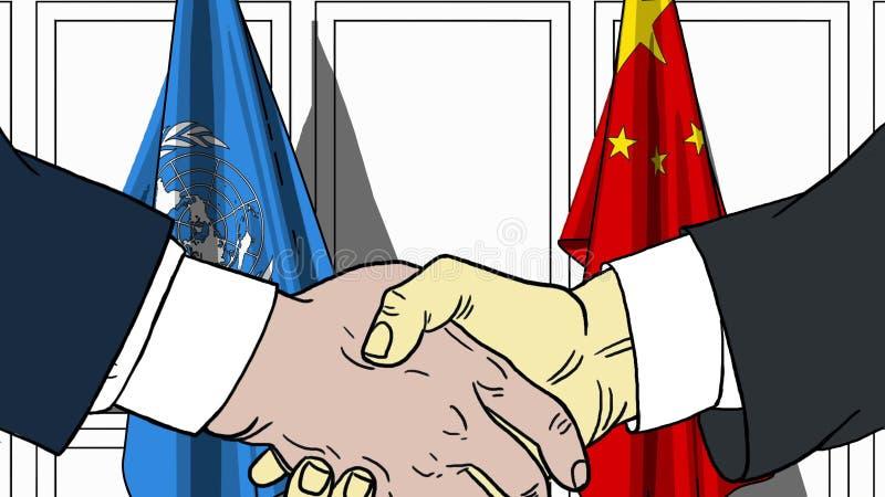 Les hommes d'affaires ou les politiciens se serrent la main contre des drapeaux des Nations Unies et de la Chine Réunion ou coopé illustration stock