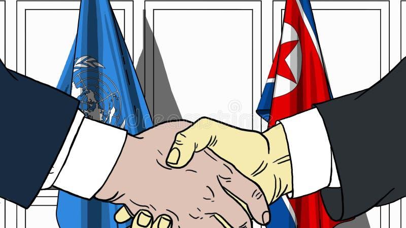 Les hommes d'affaires ou les politiciens se serrent la main contre des drapeaux des Nations Unies et de la Corée du Nord Réunion  illustration stock