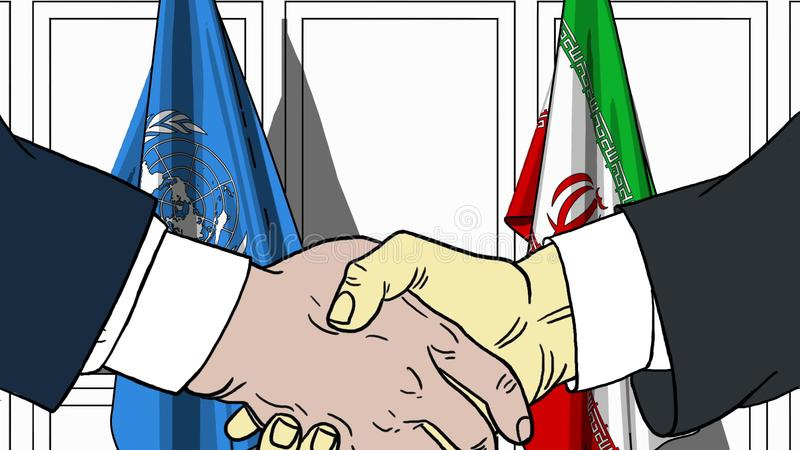 Les hommes d'affaires ou les politiciens se serrent la main contre des drapeaux des Nations Unies et de l'Iran Réunion ou coopéra illustration de vecteur