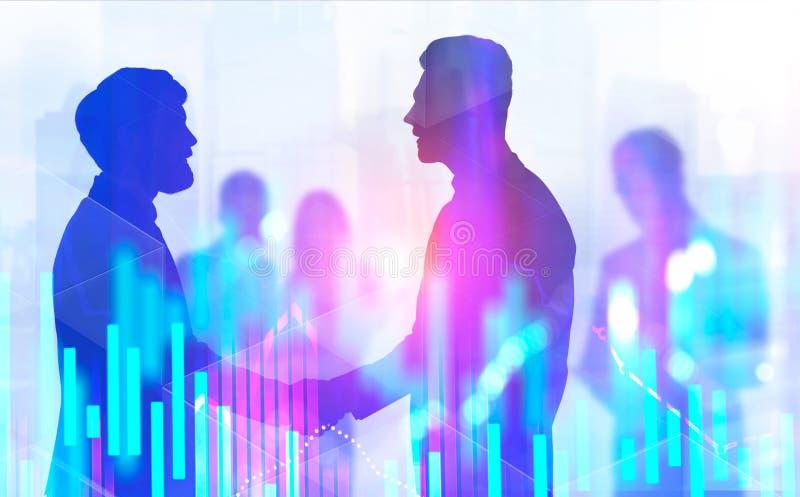 Les hommes d'affaires se serrant la main dans la ville, représente graphiquement illustration stock