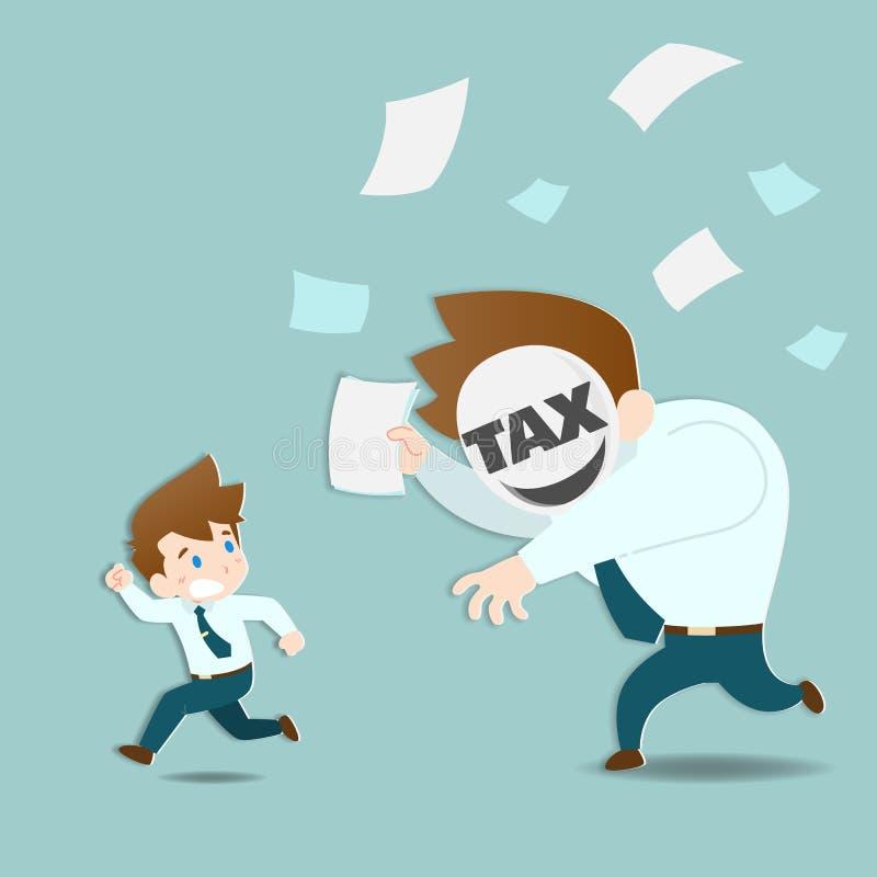 Les hommes d'affaires sont effray?s et fonctionnement ? partir de l'imp?t ?norme qui chassent tr?s rapidement illustration stock