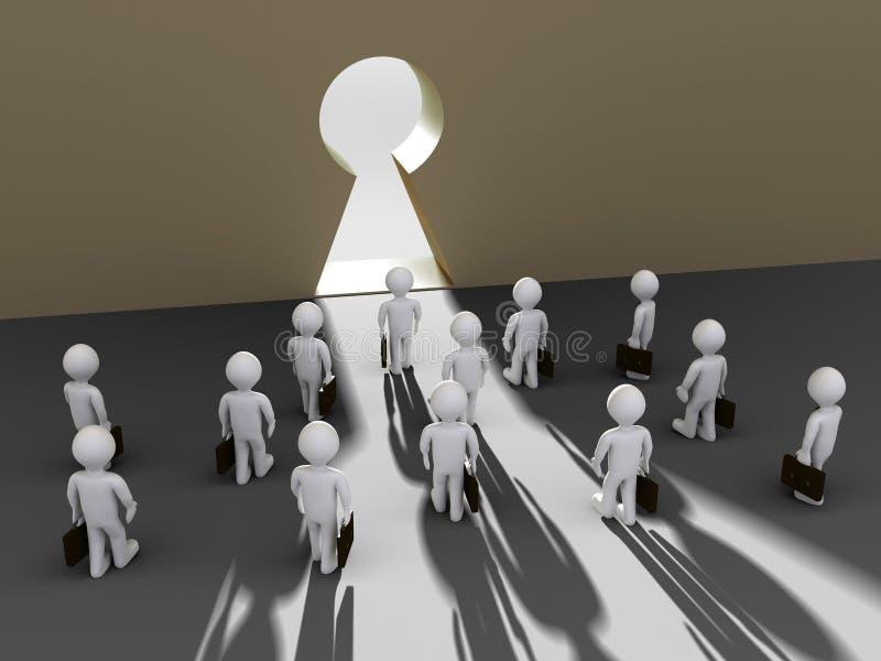 Les hommes d'affaires trouvent l'ouverture de trou de la serrure illustration de vecteur