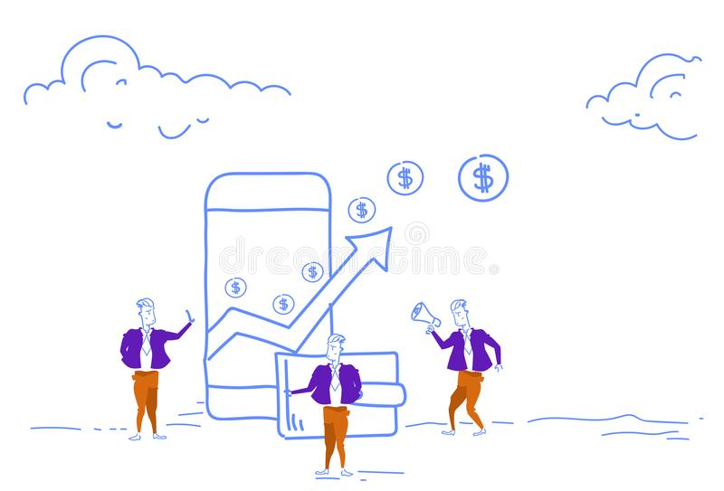Les hommes d'affaires utilisant la flèche financière d'application mobile de paiement vers le haut du dollar de richesse de crois illustration libre de droits