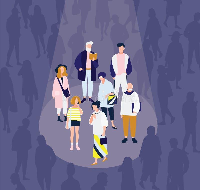 Les hommes et les femmes du divers âge illuminés par la tache lumineuse s'allument contre la foule des personnes dans l'obscurité illustration stock