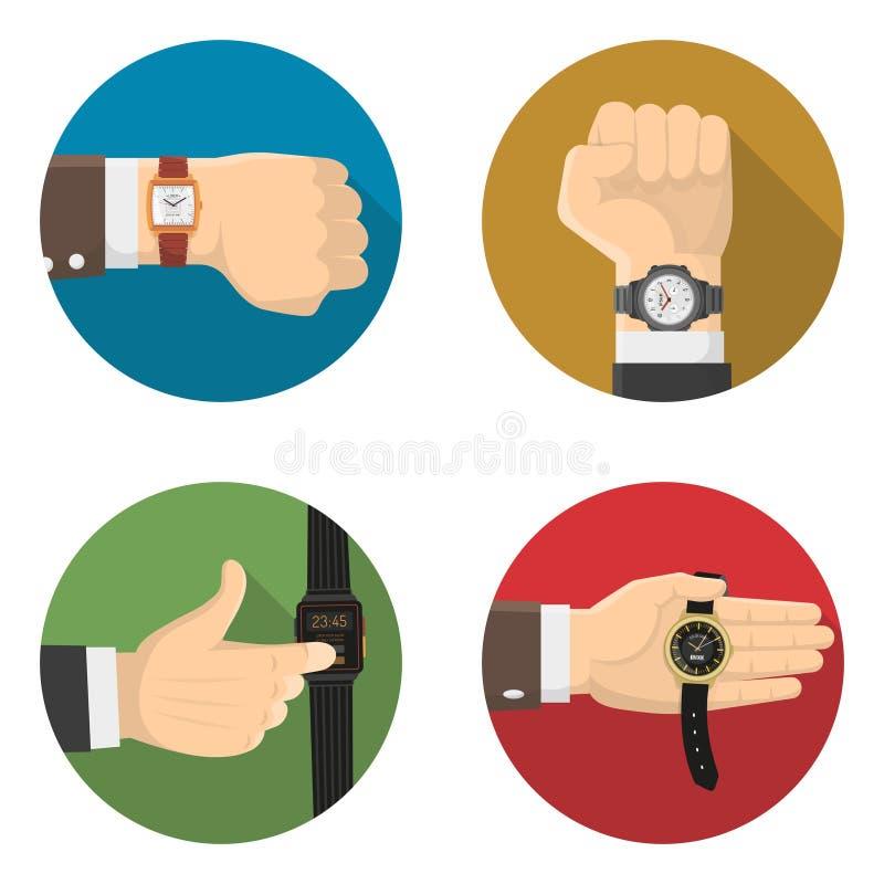 Les hommes observe 4 icônes plates rondes illustration stock