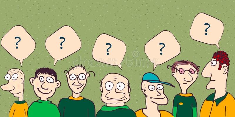 Les hommes ont une question Illustration à main photographie stock