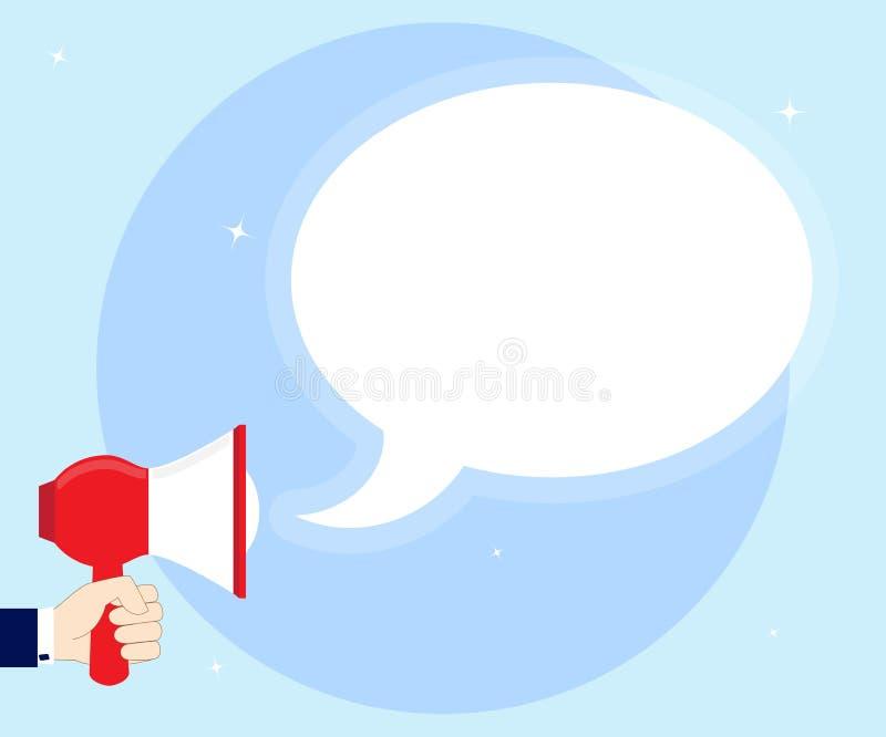 Les hommes remettent tenir le mégaphone avec la bulle vide de la parole, la publicité, annoncent Parlez, criez, en annonçant  illustration de vecteur