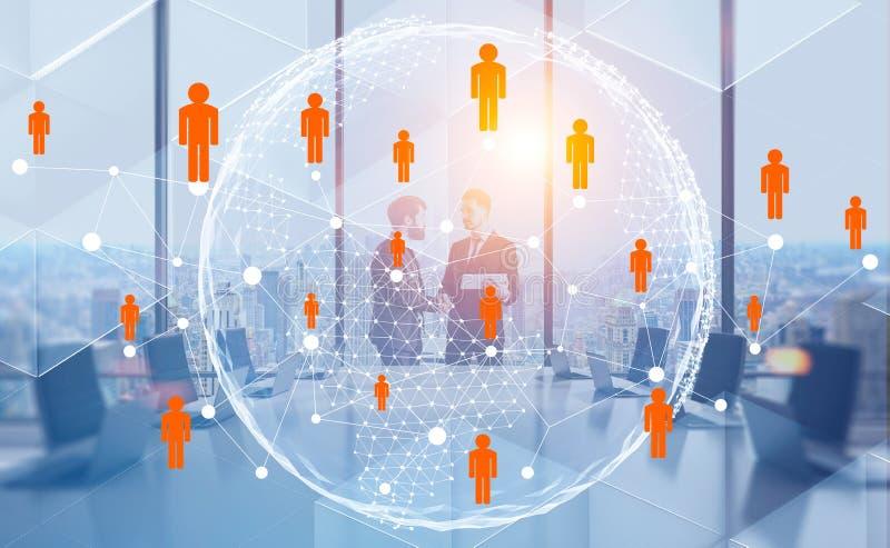 Les hommes se serrent la main dans le bureau, réseau de personnes illustration de vecteur