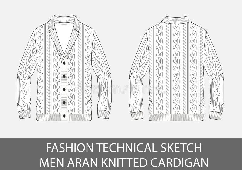 Les hommes techniques de croquis de mode tricotent le cardigan droit d'aran illustration libre de droits