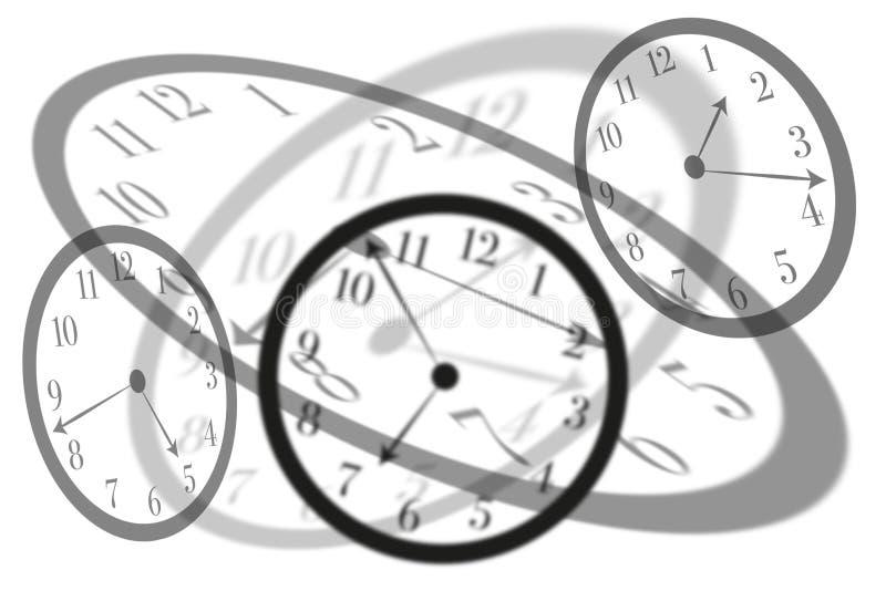 Les horloges d'isolement rondes de vue artistique avec les chiffres latins intersectent les uns avec les autres pour montrer le d illustration de vecteur