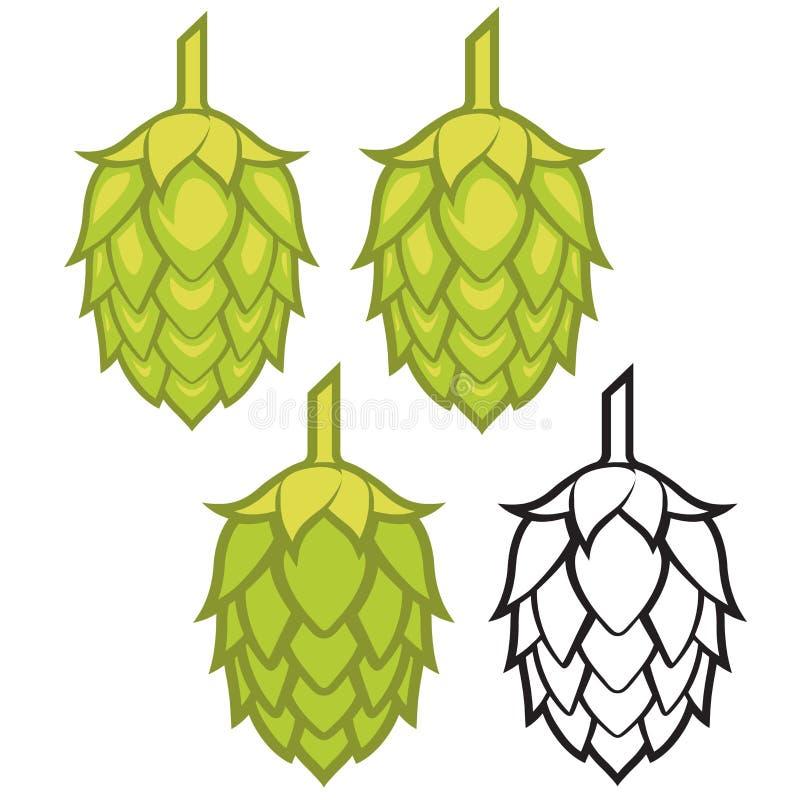 Les houblon dirigent l'icône ou le logo graphique visuelle, idéal pour la bière, la bière de malt, la bière anglaise, la bière bl illustration libre de droits