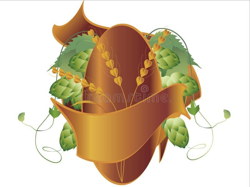 Les houblon plantent, blé et bande illustration stock
