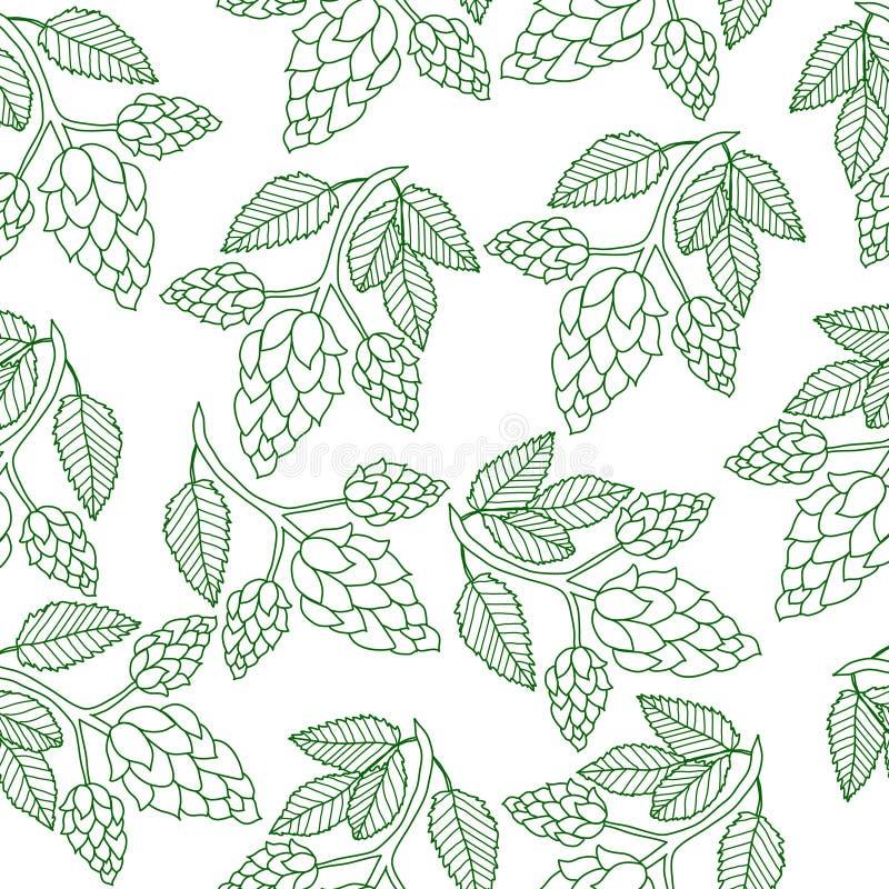 Les houblon plantent le modèle sans couture, style de dessin de main Saute à cloche-pied le fond Papier peint d'houblon Illustrat illustration de vecteur