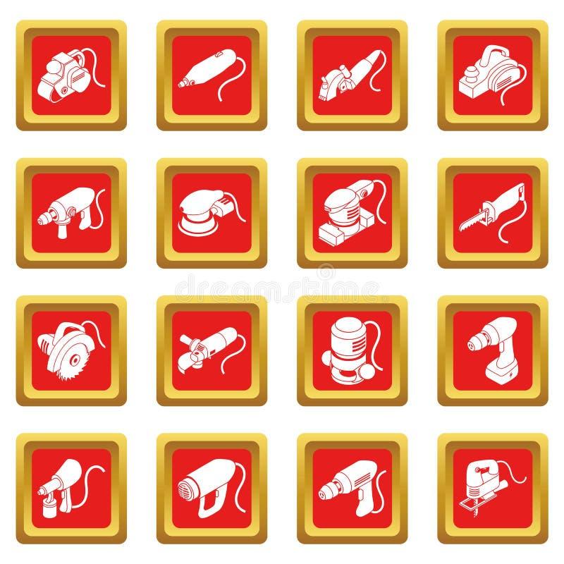 Les icônes électriques d'outils ont placé la place rouge illustration stock