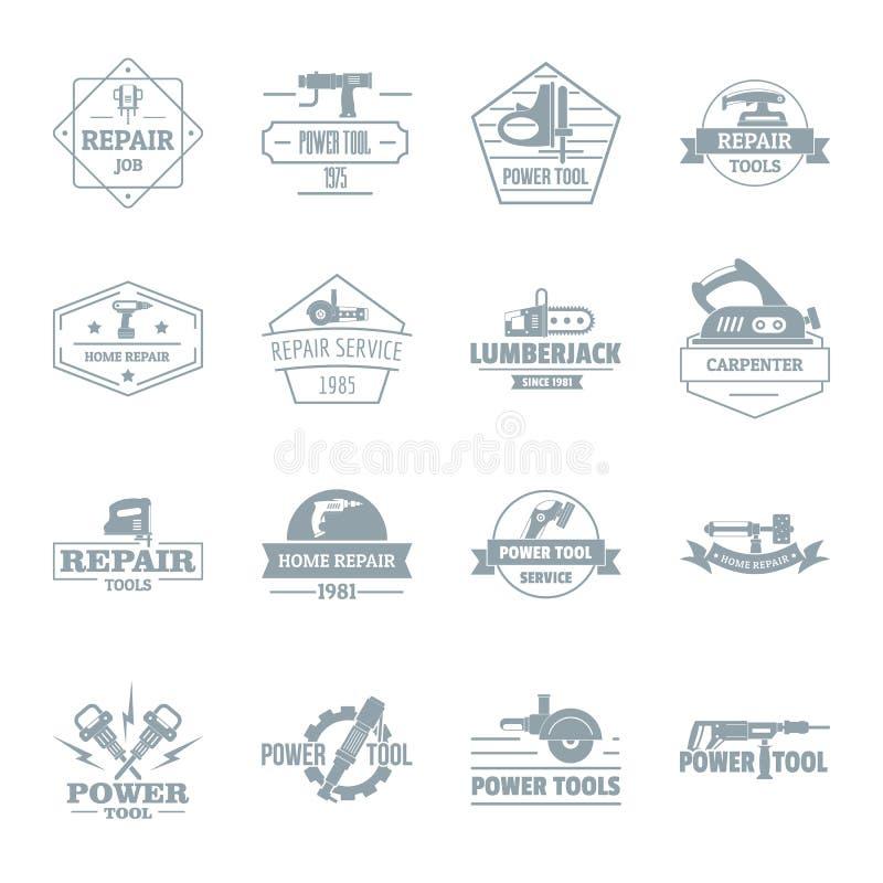 Les icônes électriques de logo d'outils ont placé, style simple illustration de vecteur