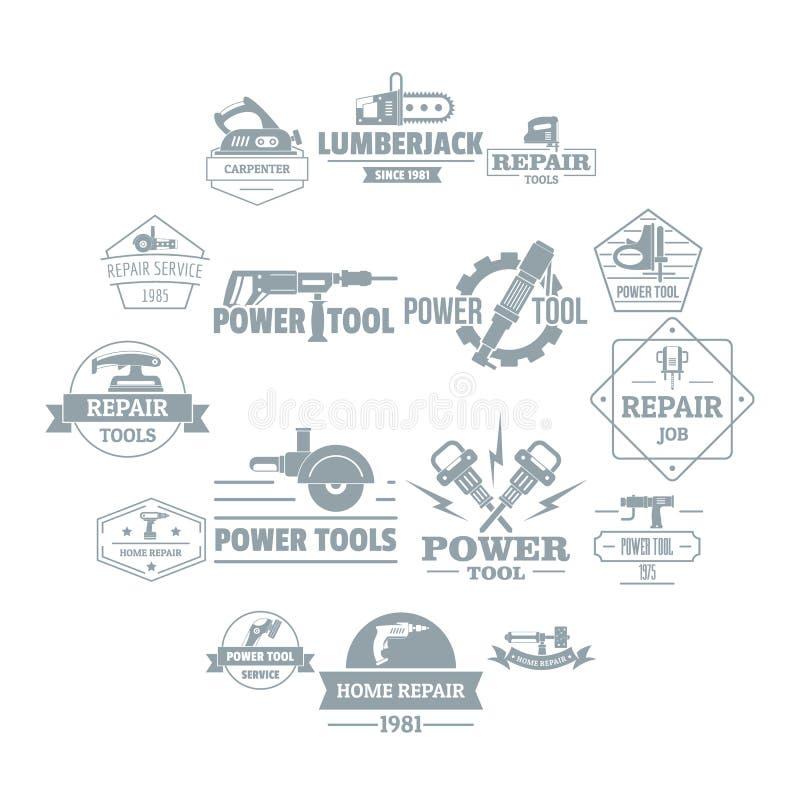 Les icônes électriques de logo d'outils ont placé, style simple illustration stock